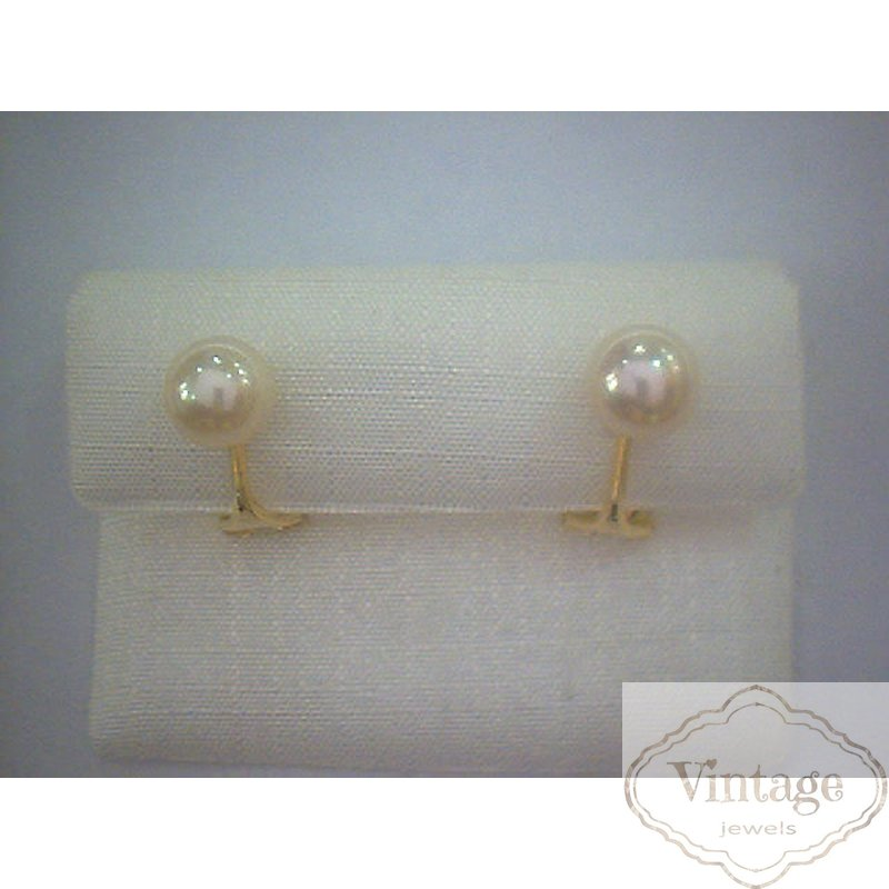 Ohrclips mit Perle, 14kt Gold 585 Glanz