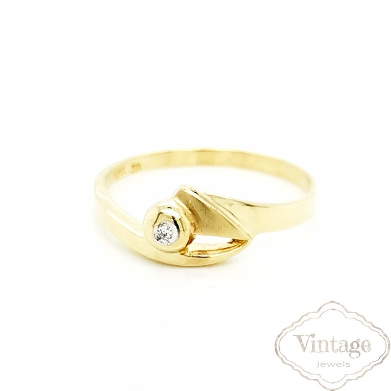 Diamantring echt Gold 585 matt/Glanz Ringweite 60