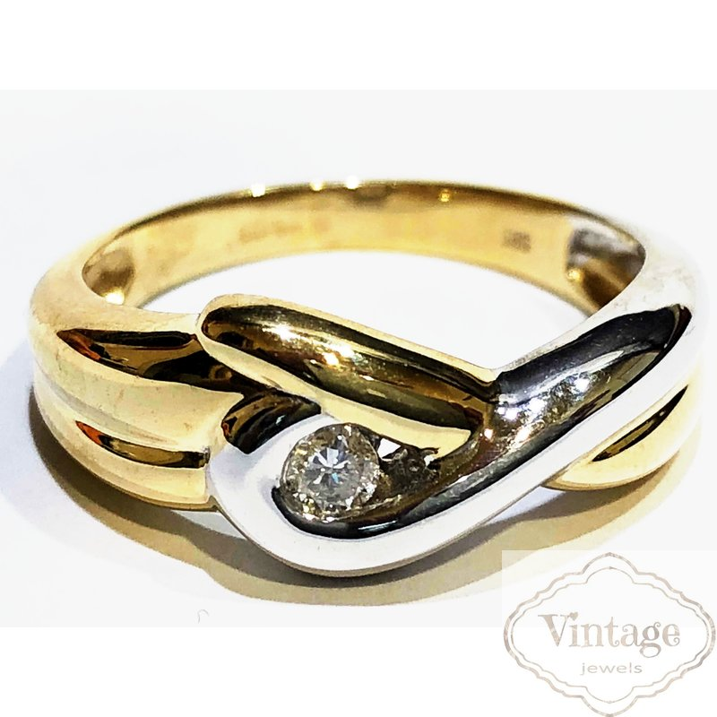 Brillantring, bicolor, 585 Gold ,Brillant zu 0,09 ct W/si ,Weite 57